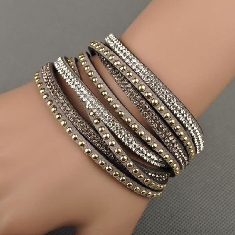 Multilayer Crystal Dot Wrap Bracelets - Gray - Custom Made | Free Shipping