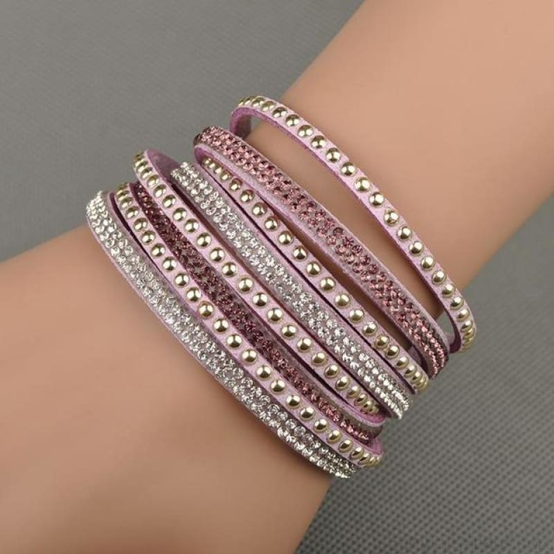 Multilayer Crystal Dot Wrap Bracelets - Light Purple - Custom Made | Free Shipping