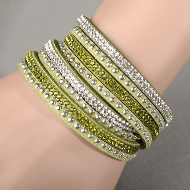 Multilayer Crystal Dot Wrap Bracelets - Olive Green - Custom Made | Free Shipping