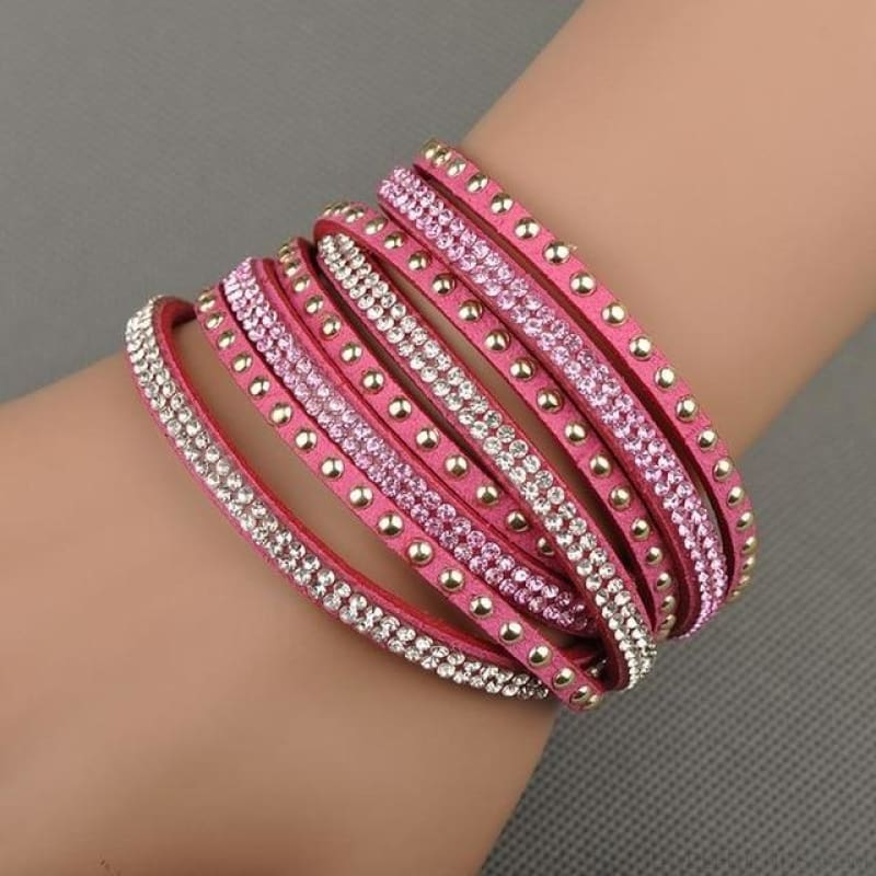Multilayer Crystal Dot Wrap Bracelets - Pink - Custom Made | Free Shipping