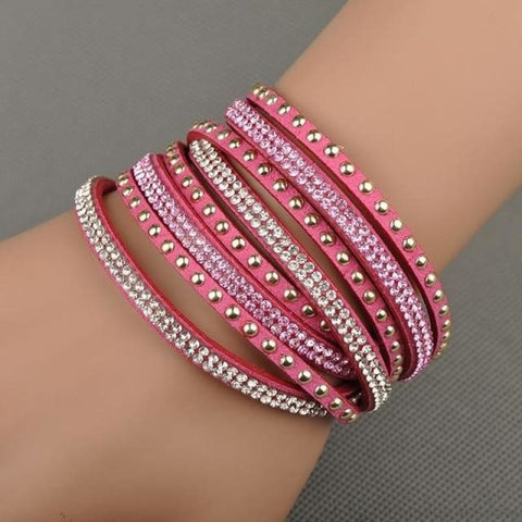 Image of Multilayer Crystal Dot Wrap Bracelets - Pink - Custom Made | Free Shipping