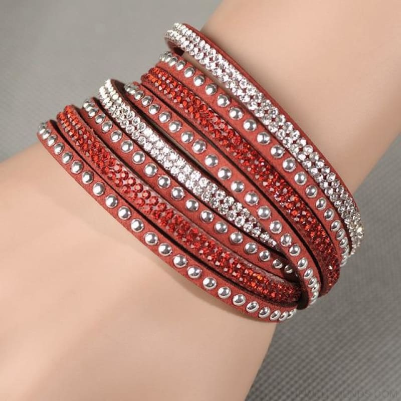 Multilayer Crystal Dot Wrap Bracelets - Red - Custom Made | Free Shipping
