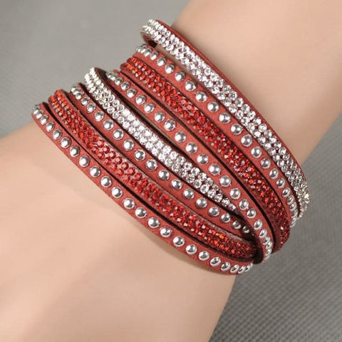 Image of Multilayer Crystal Dot Wrap Bracelets - Red - Custom Made | Free Shipping