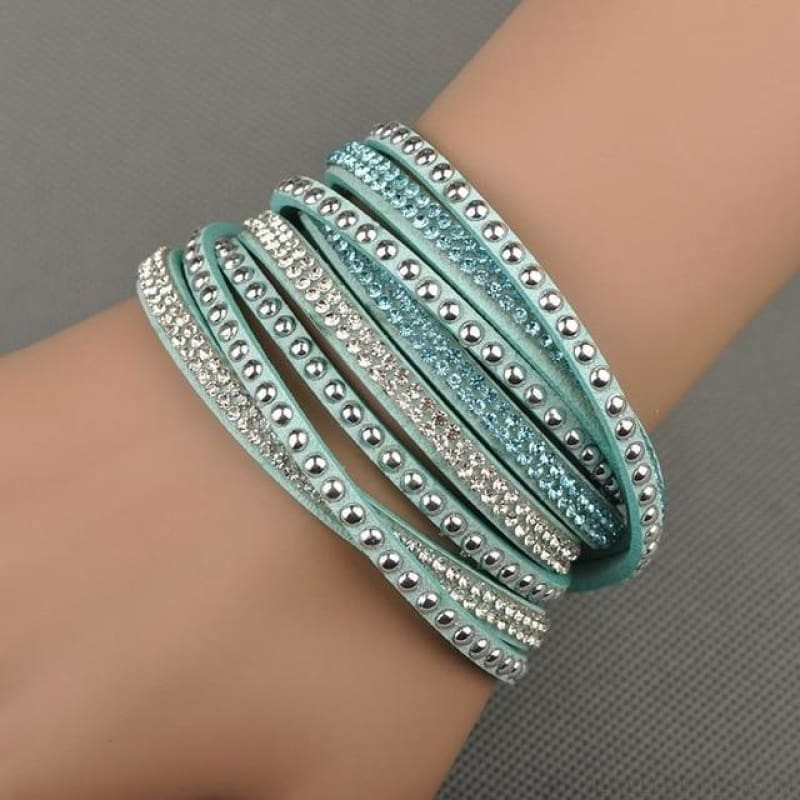 Multilayer Crystal Dot Wrap Bracelets - Turquoise - Custom Made | Free Shipping