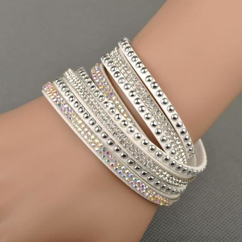Multilayer Crystal Dot Wrap Bracelets - White - Custom Made | Free Shipping