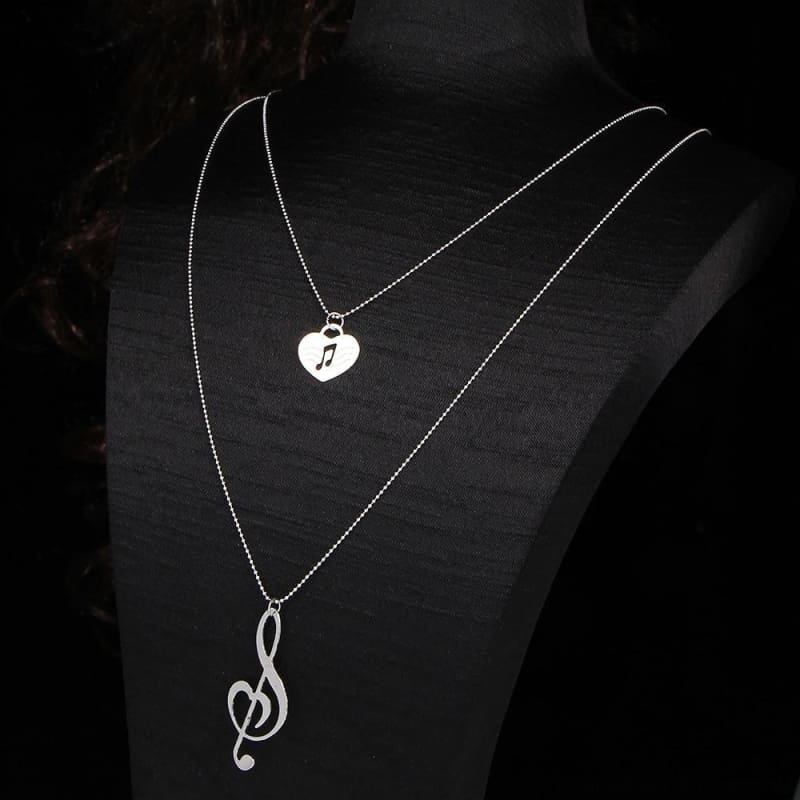Musical Note Heart Pendant Necklace - Custom Made | Free Shipping