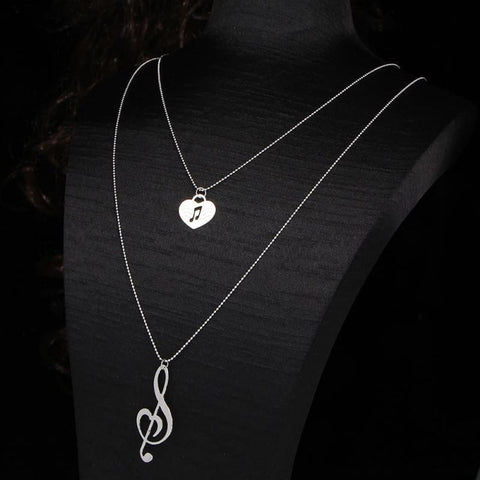 Image of Musical Note Heart Pendant Necklace - Custom Made | Free Shipping