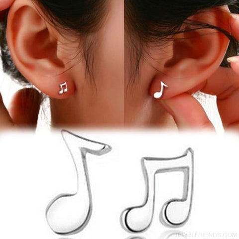 Musical Note Silver Plated Stud Earrings - Custom Made | Free Shipping