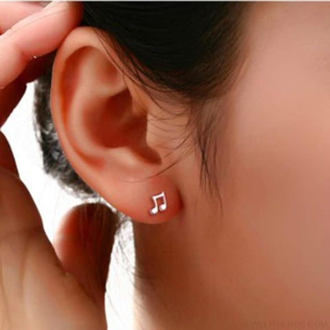 Image of Musical Note Silver Plated Stud Earrings - Custom Made | Free Shipping
