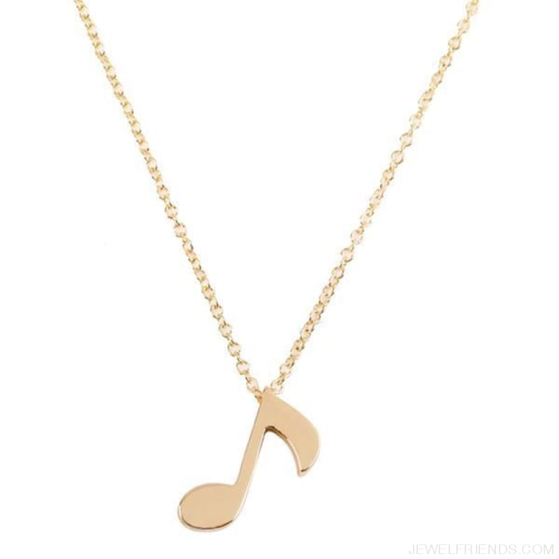 Musical Note Symbol Chain Necklace - Gold-Color - Custom Made | Free Shipping