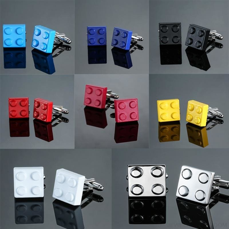 Muti-Color Bricks Design Cuff Links - Custom Made | Free Shipping