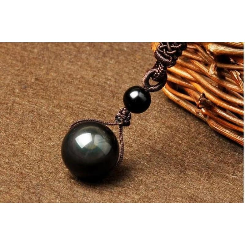 Natural Obsidian Eye Good Luck Bead Pendant Necklace - Custom Made | Free Shipping