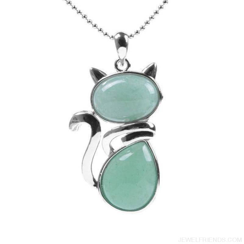 Natural Stone Cat Shape Pendant Necklace - Green Aventurine - Custom Made | Free Shipping