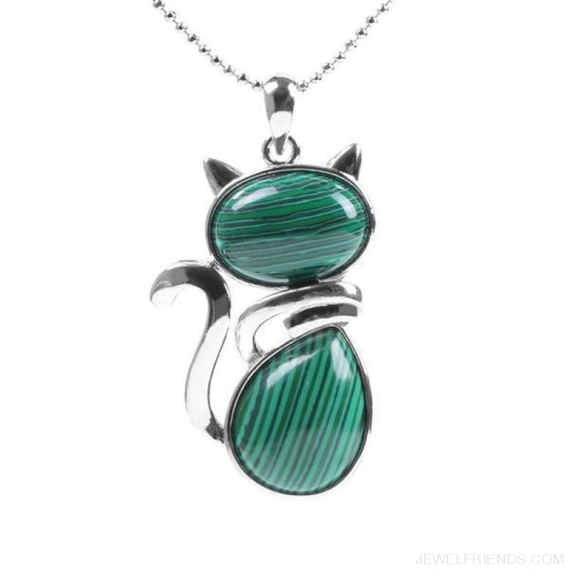 Natural Stone Cat Shape Pendant Necklace - Malachite - Custom Made | Free Shipping