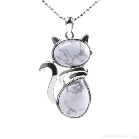Image of Natural Stone Cat Shape Pendant Necklace - White Turquoise - Custom Made | Free Shipping