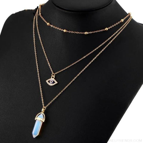 Opal Stone Multi Layer Crystal Eye Bohemian Pendant Necklace - Custom Made | Free Shipping