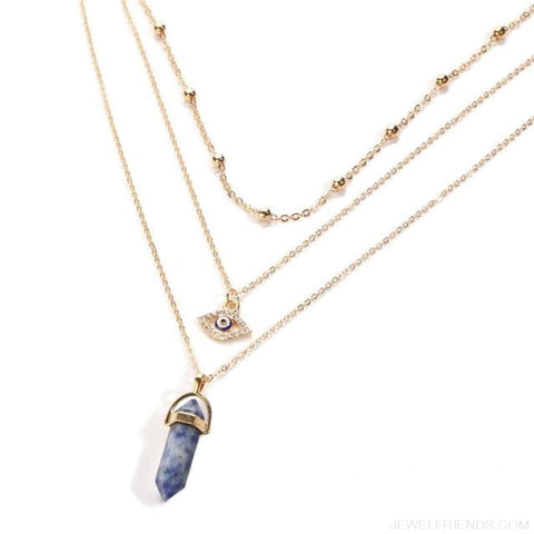 Opal Stone Multi Layer Crystal Eye Bohemian Pendant Necklace - Njcs65432 - Custom Made | Free Shipping