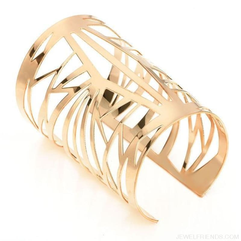 Opening Hollow Wide Cuff Bracelets - Gold - Custom Made | Free Shipping