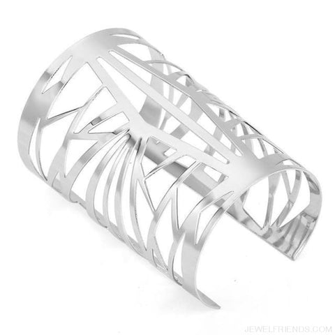Opening Hollow Wide Cuff Bracelets - Silver - Custom Made | Free Shipping