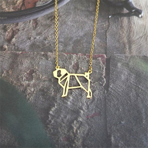 Image of Origami Pug Necklace - Custom Made | Free Shipping