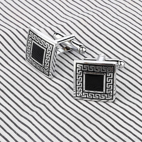 Image of Pattern Silver Cuff Links - Custom Made | Free Shipping