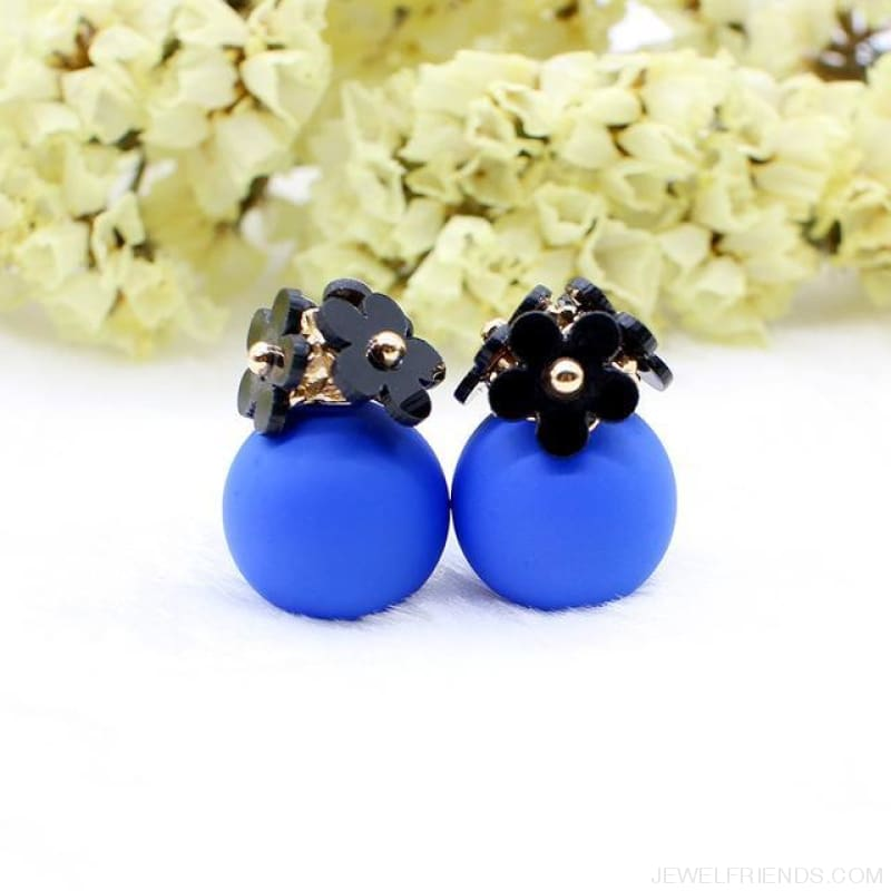 Pearl Ball Earrings Flower Two Side Stud Earring - Black Blue - Custom Made | Free Shipping
