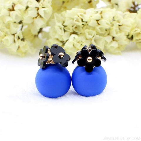 Image of Pearl Ball Earrings Flower Two Side Stud Earring - Black Blue - Custom Made | Free Shipping