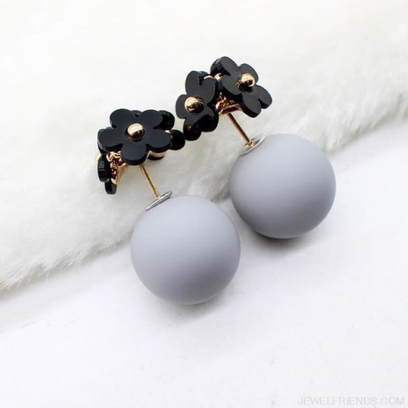 Pearl Ball Earrings Flower Two Side Stud Earring - Black Gray - Custom Made | Free Shipping