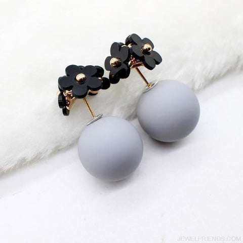 Image of Pearl Ball Earrings Flower Two Side Stud Earring - Black Gray - Custom Made | Free Shipping