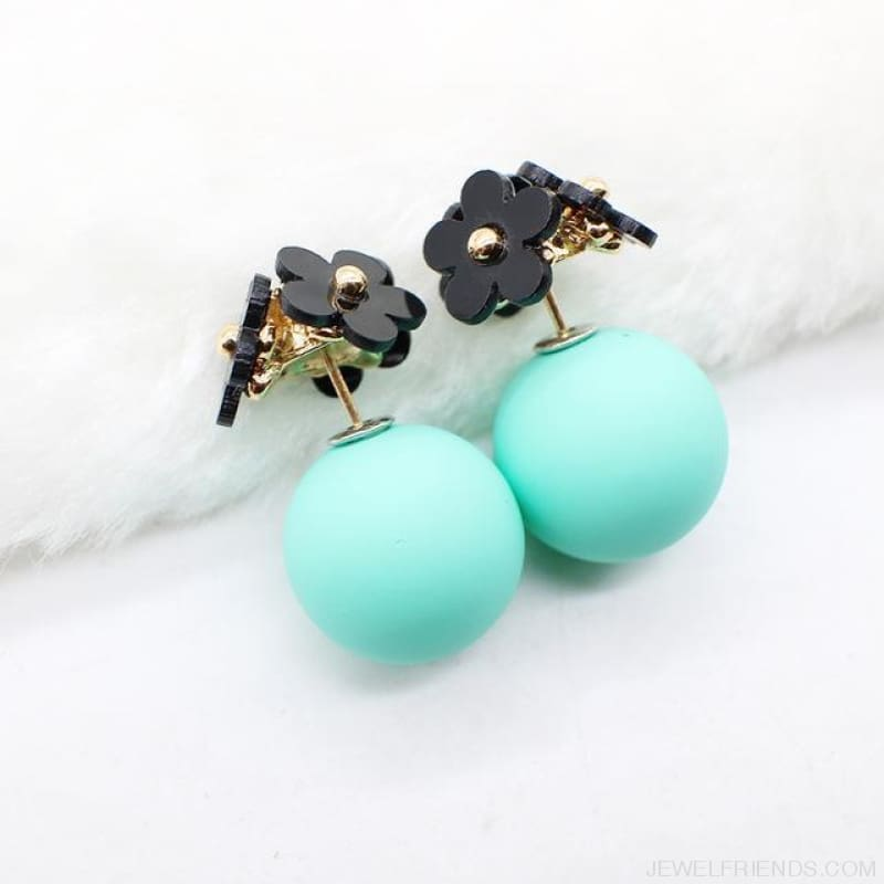Pearl Ball Earrings Flower Two Side Stud Earring - Black Green - Custom Made | Free Shipping