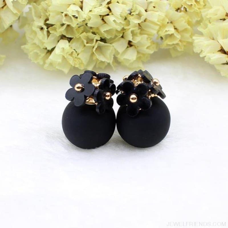 Pearl Ball Earrings Flower Two Side Stud Earring - Black Black - Custom Made | Free Shipping