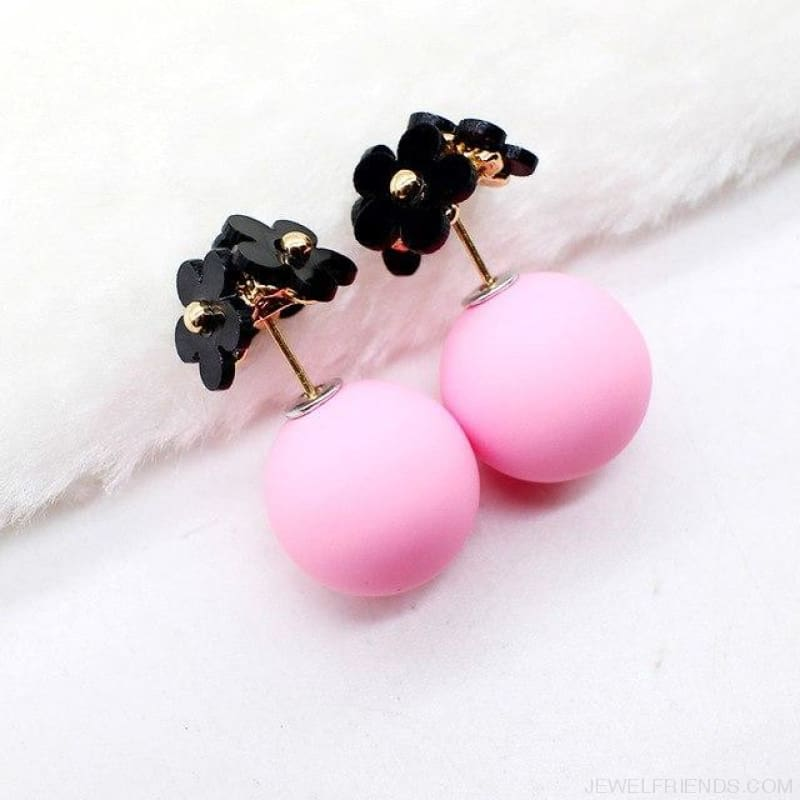 Pearl Ball Earrings Flower Two Side Stud Earring - Black Pink - Custom Made | Free Shipping