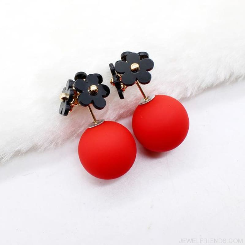 Pearl Ball Earrings Flower Two Side Stud Earring - Black Red - Custom Made | Free Shipping