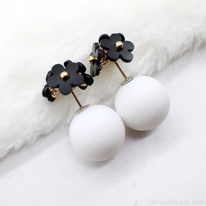 Pearl Ball Earrings Flower Two Side Stud Earring - Black White - Custom Made | Free Shipping
