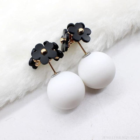 Image of Pearl Ball Earrings Flower Two Side Stud Earring - Black White - Custom Made | Free Shipping