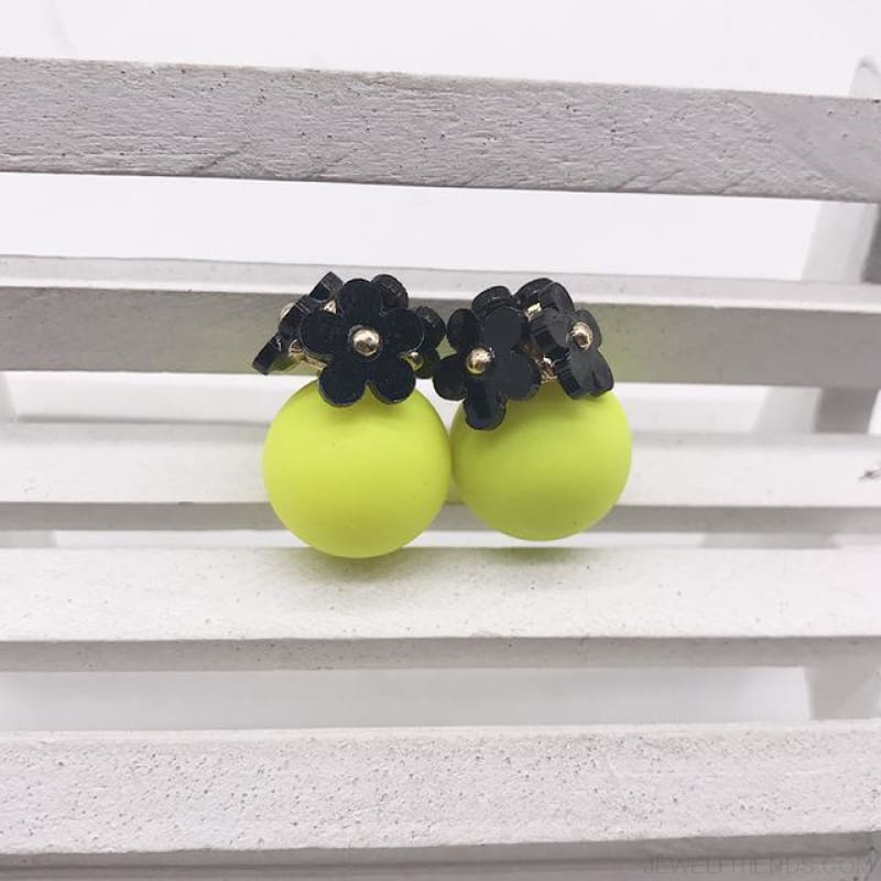 Pearl Ball Earrings Flower Two Side Stud Earring - Black Yellow - Custom Made | Free Shipping