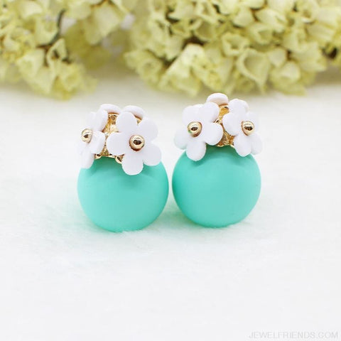 Image of Pearl Ball Earrings Flower Two Side Stud Earring - Custom Made | Free Shipping