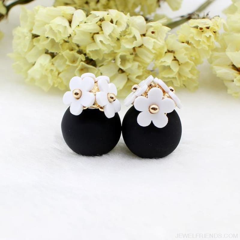 Pearl Ball Earrings Flower Two Side Stud Earring - White Black - Custom Made | Free Shipping