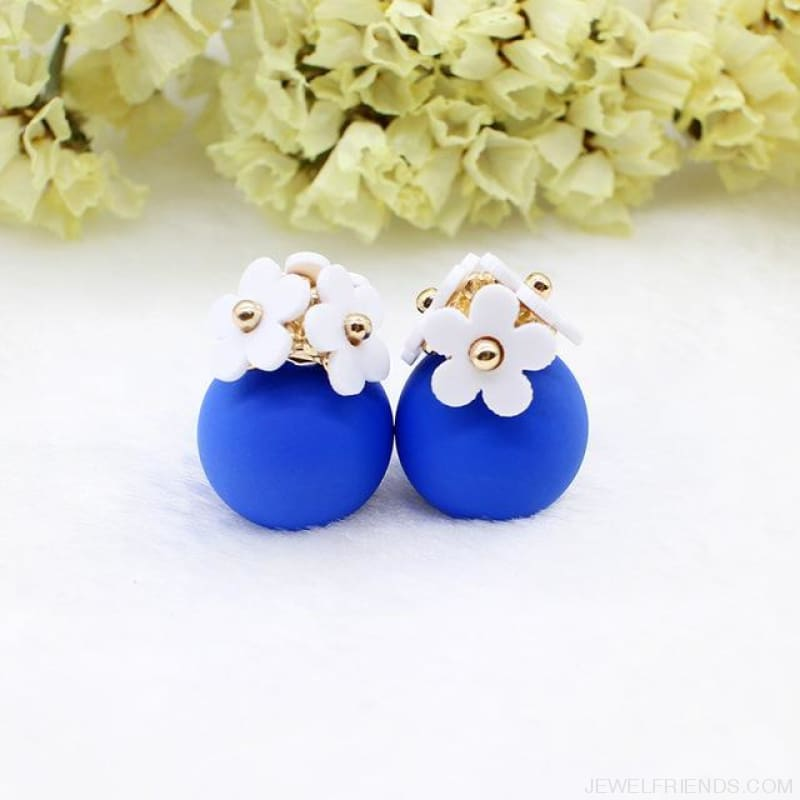 Pearl Ball Earrings Flower Two Side Stud Earring - White Blue - Custom Made | Free Shipping