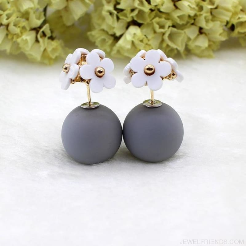 Pearl Ball Earrings Flower Two Side Stud Earring - White Gray - Custom Made | Free Shipping