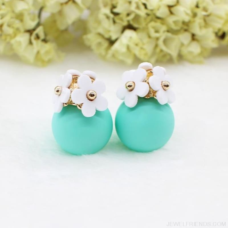 Pearl Ball Earrings Flower Two Side Stud Earring - White Green - Custom Made | Free Shipping