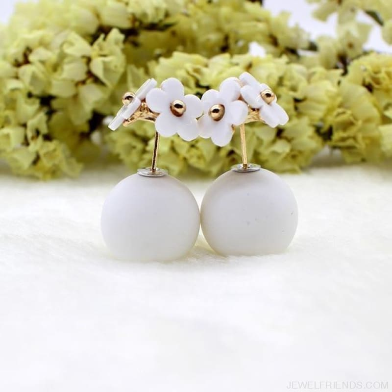 Pearl Ball Earrings Flower Two Side Stud Earring - White White - Custom Made | Free Shipping