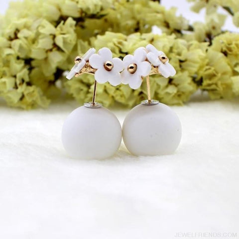 Image of Pearl Ball Earrings Flower Two Side Stud Earring - White White - Custom Made | Free Shipping
