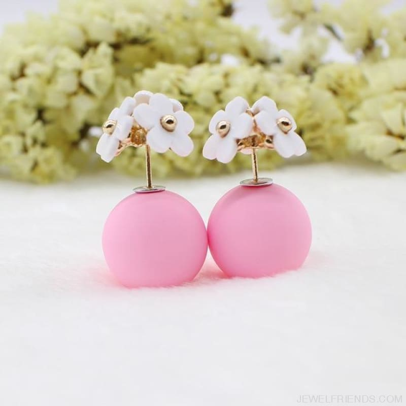 Pearl Ball Earrings Flower Two Side Stud Earring - White Pink - Custom Made | Free Shipping