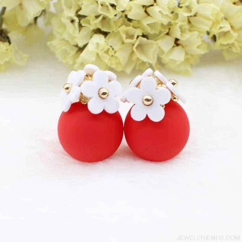 Pearl Ball Earrings Flower Two Side Stud Earring - White Red - Custom Made | Free Shipping
