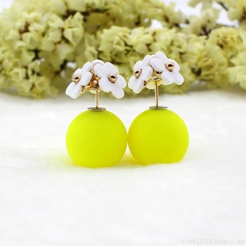 Pearl Ball Earrings Flower Two Side Stud Earring - White Yellow - Custom Made | Free Shipping