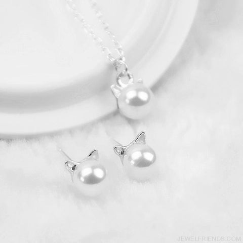 Image of Pearl Cat Design Jewelry Set - Custom Made | Free Shipping
