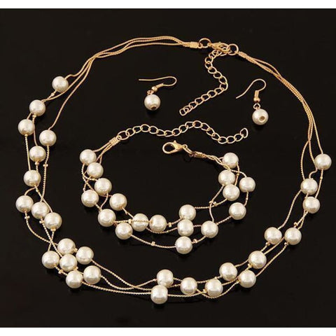 Pearl Double Layer Jewelry Sets - Gold - Custom Made | Free Shipping