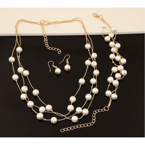Pearl Double Layer Jewelry Sets - Custom Made | Free Shipping