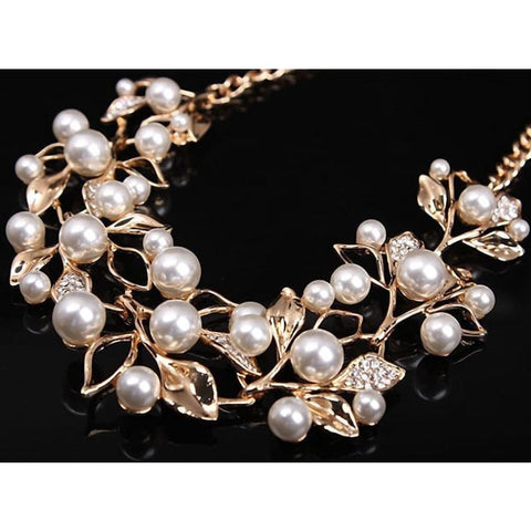 Image of Pearl Leaves Statement Necklace - Custom Made | Free Shipping